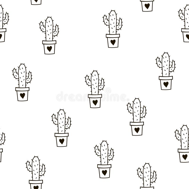 Seamless pattern with cute cacti. Vector template. royalty free stock image