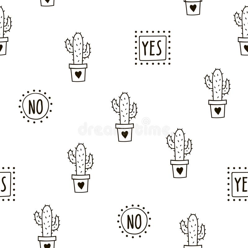 Seamless pattern with cute cacti and words. Vector template. royalty free stock photo