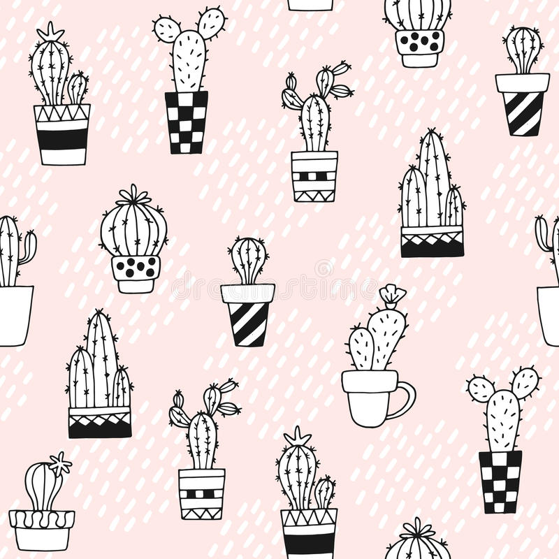 Seamless pattern with cute cactus and hand drawn textures.Perfect for fabric,textile.Vector background. royalty free illustration