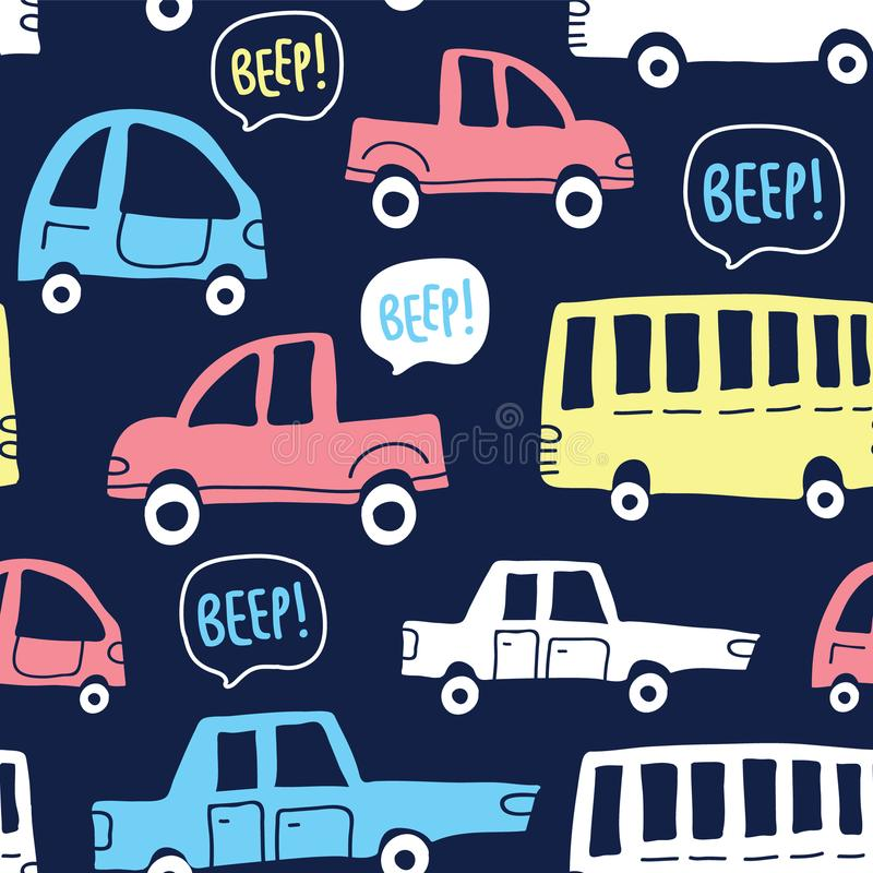 Seamless pattern with cute cars on dark background royalty free illustration