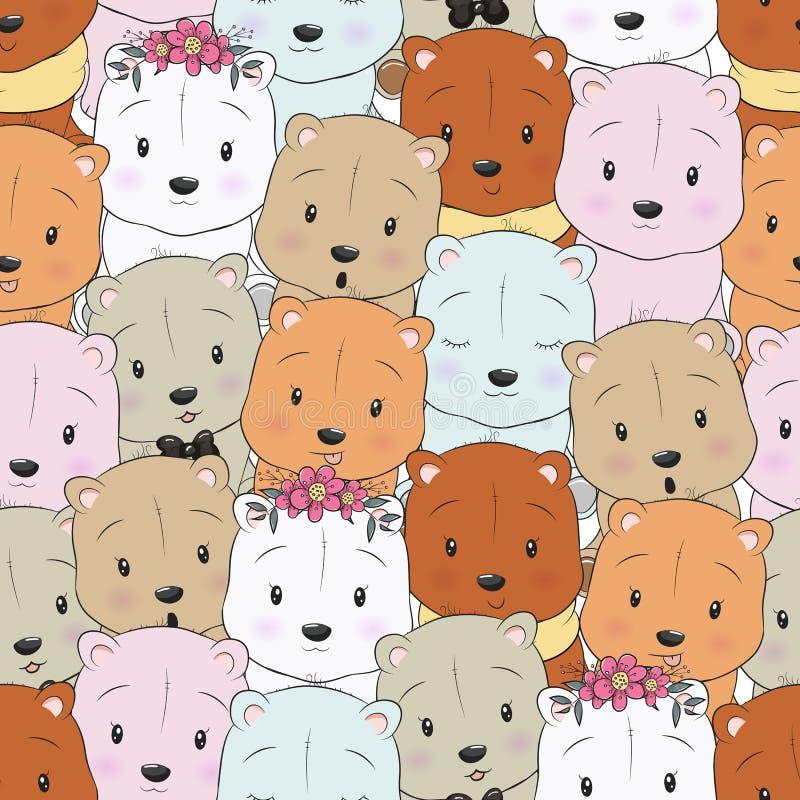 Seamless pattern cute cartoon bear vector illustration