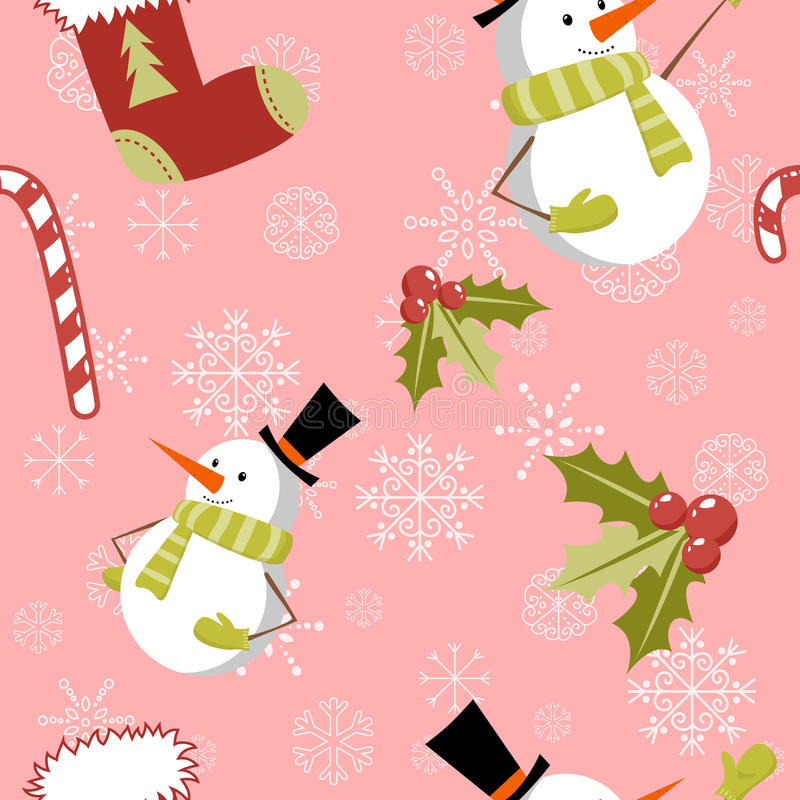 Seamless pattern with cute cartoon Christmas snowm royalty free illustration