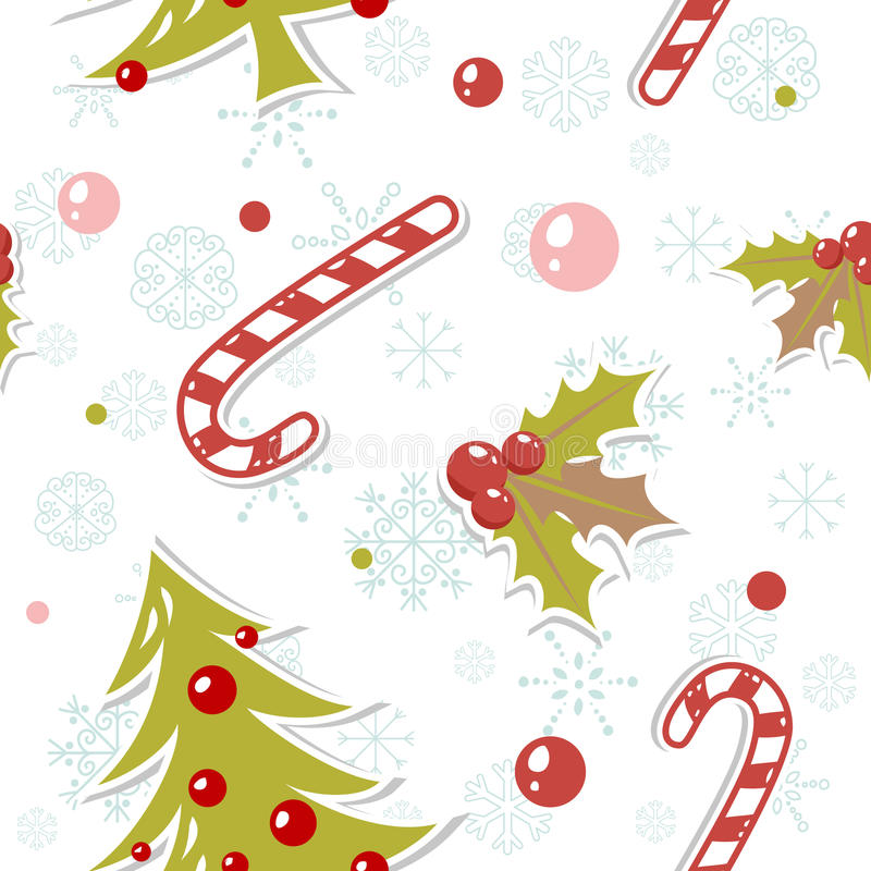 Seamless pattern with cute cartoon Christmas tree royalty free illustration