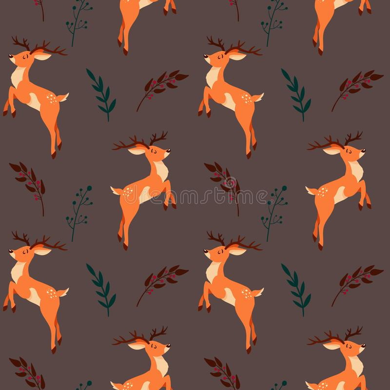Seamless pattern with cute cartoon deer and floral elements vector illustration