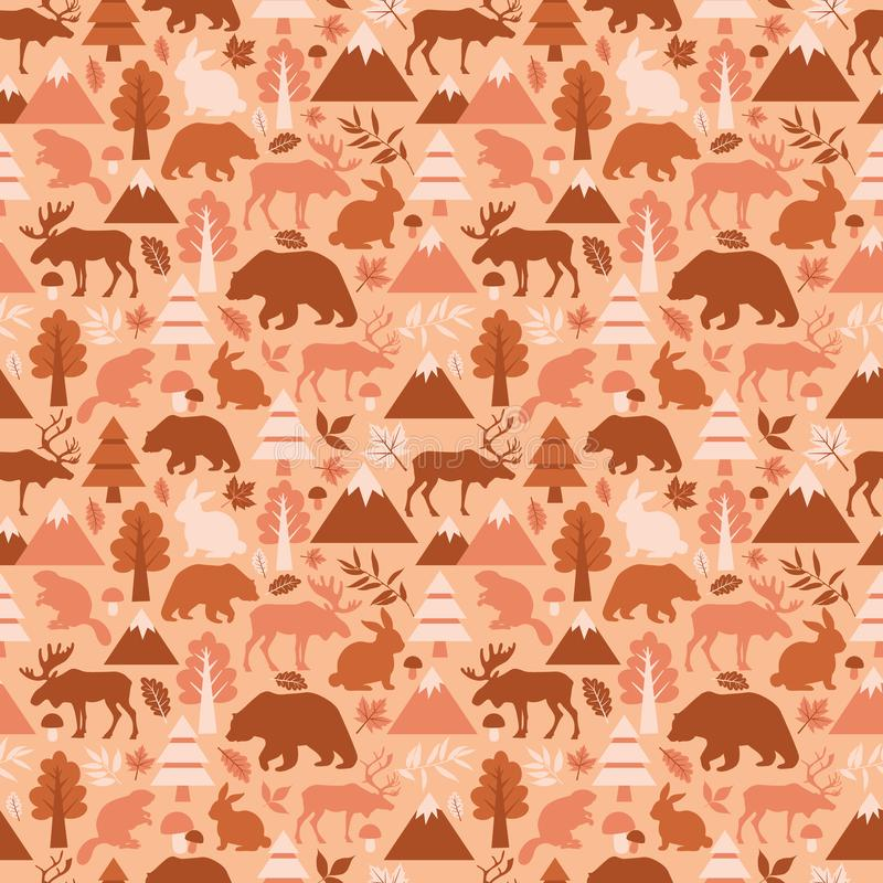 Seamless pattern with cute cartoon , elks, deers, bears, rabbits, beaver, deer, rabbits banny on peach background stock illustration