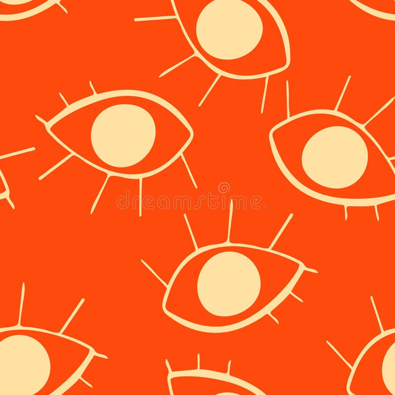 Seamless pattern with cute cartoon eyes in abstract style. Beige graphic drawnig of eyeballs with eyelashes on orange background vector illustration