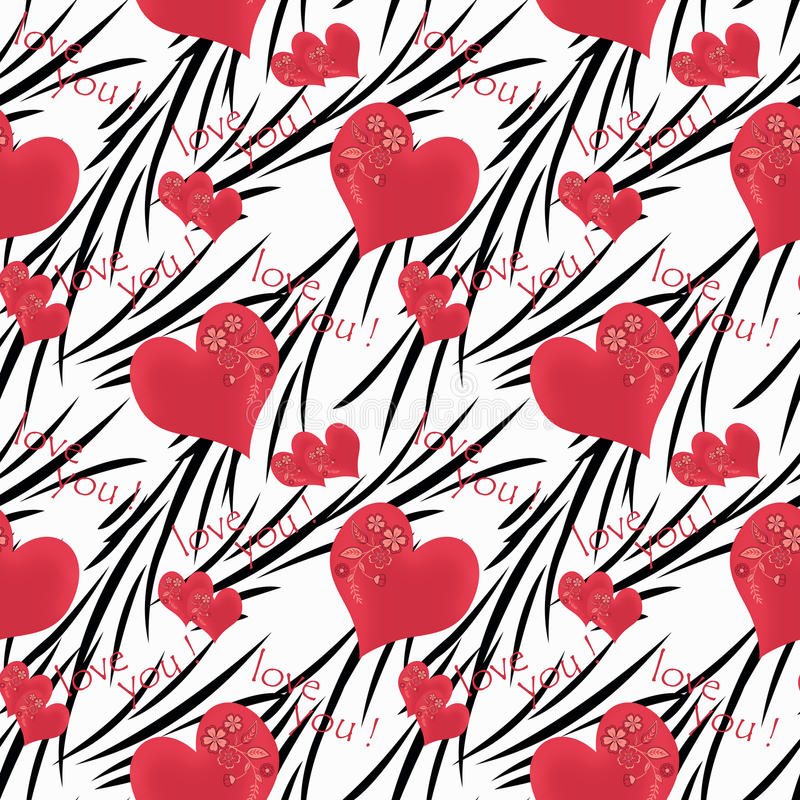 Download Seamless Pattern Cute Cartoon Flowers Hearts White Background Stock Illustration
