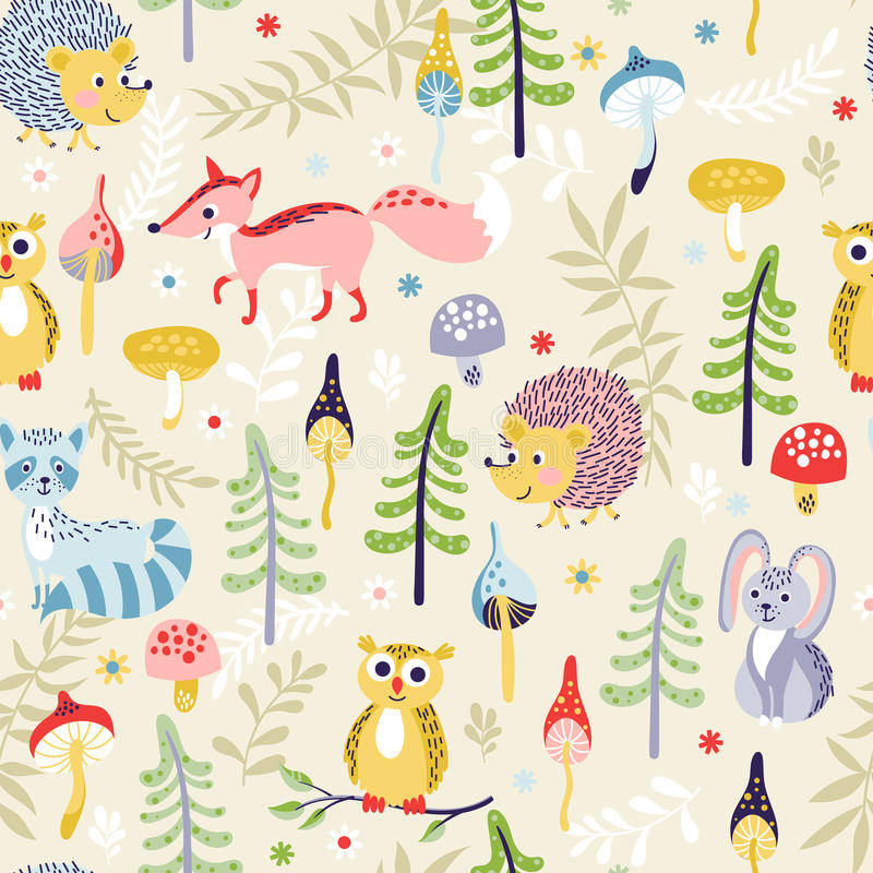 Seamless pattern with forest animals royalty free illustration