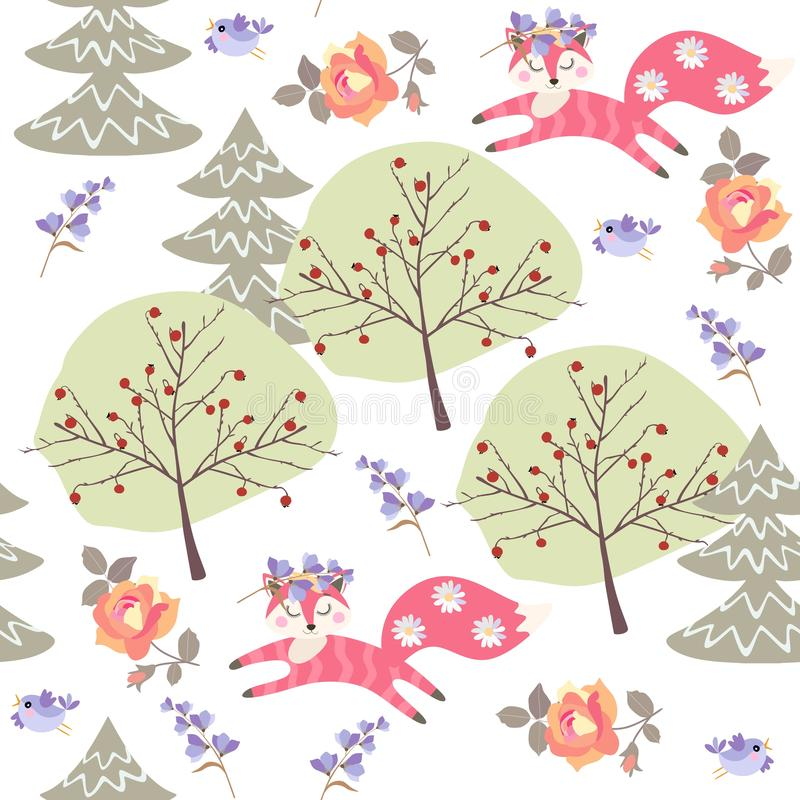 Seamless pattern with cute cartoon foxes in summer forest. Fir trees, rose and bell flowers isolated on white background in vector. Drawing for kids royalty free illustration