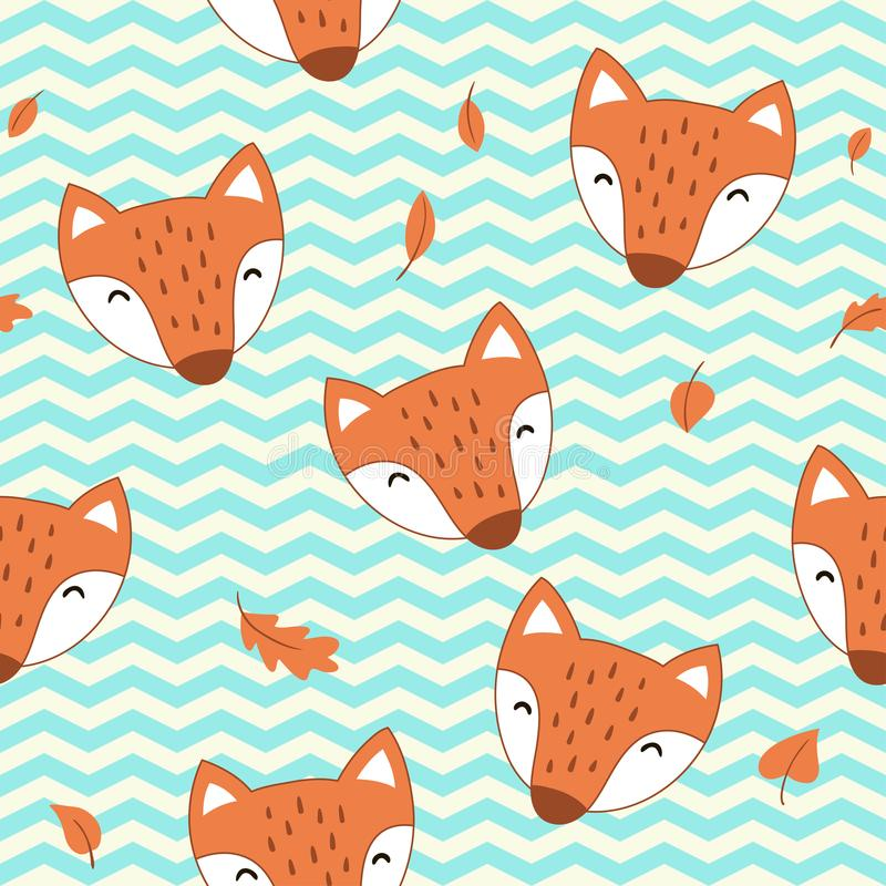 Seamless pattern with cute cartoon foxes. Vector template . royalty free illustration