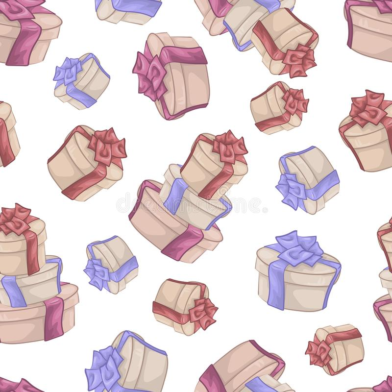 Seamless pattern with cute cartoon gifts. Vector illustration. royalty free illustration