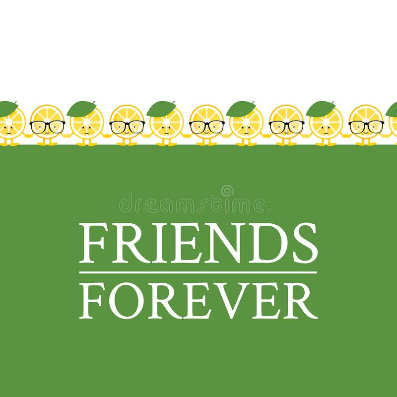 Seamless pattern with cute cartoon lemon holding hands. Background for different design. Refer a friend stock illustration