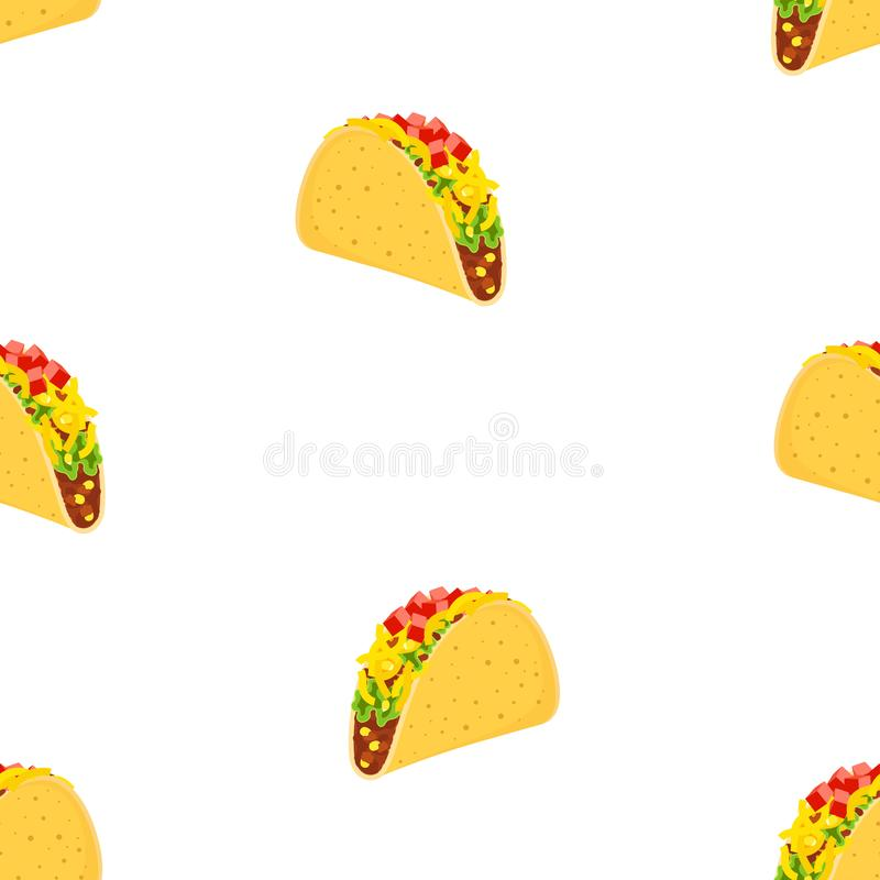 Seamless pattern with cute cartoon mexican fast food characters isolated on white, delicious fastfood with beef and chicken, green vector illustration