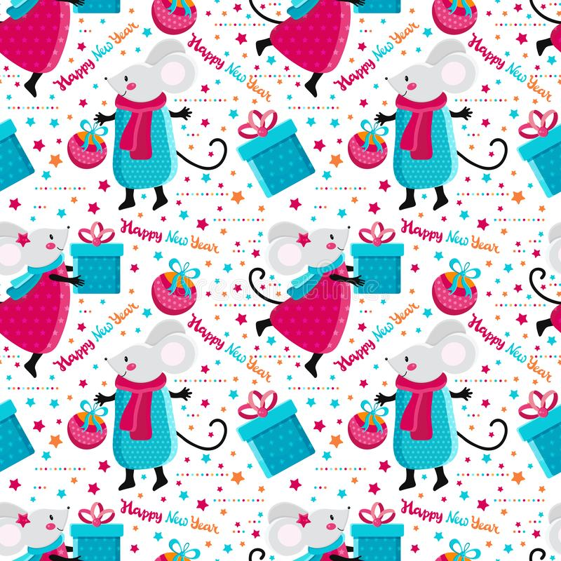 Seamless pattern cute cartoon mouse and gifts in vector. Kawaii mouse with Christmas toy. Happy rat. Chinese symbol 2020. Funny stock illustration