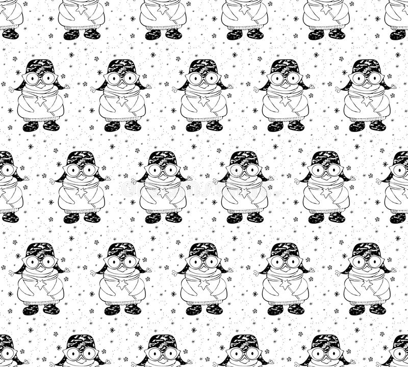 Seamless pattern cute cartoon penguin in winter clothes with a magic wand. Winter background on Christmas and New year theme. Drawn black and white art line in stock image