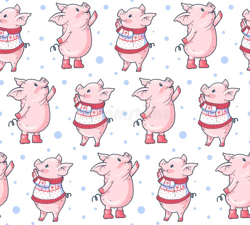 Seamless pattern with cute cartoon pigs vector illustration