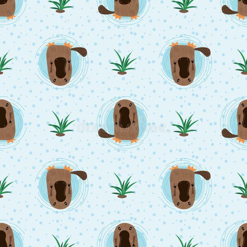 Seamless pattern with cute cartoon platypus vector illustration. Australian fauna stock illustration
