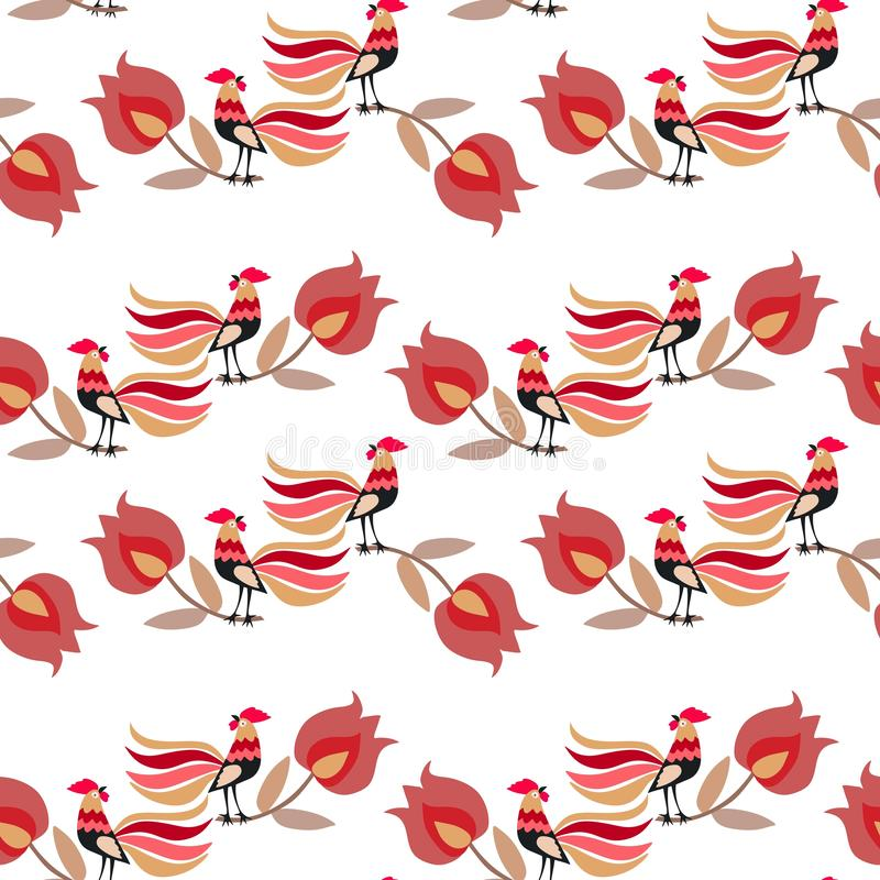 Seamless pattern with cute cartoon roosters and large tulip flowers isolated on white background in vector. Ethnic style. Russian motif. Print for fabric royalty free illustration