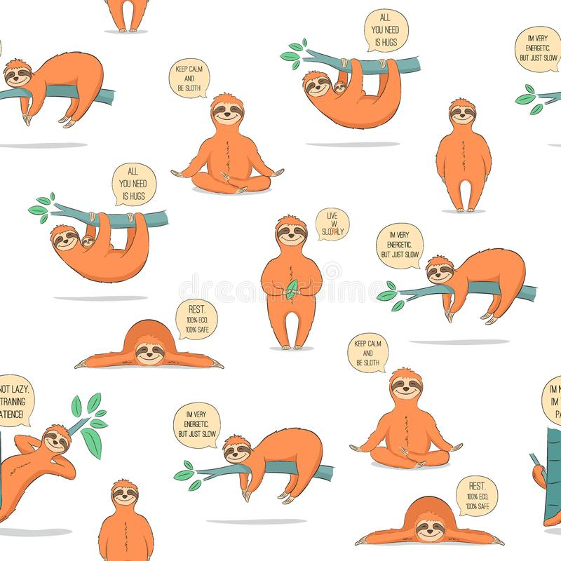 Pattern with cute cartoon sloth stock illustration