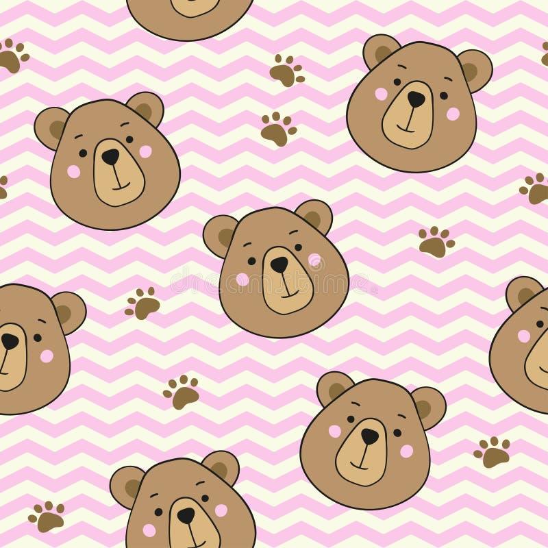Seamless pattern with cute cartoon teddy bears. Vector template. stock illustration
