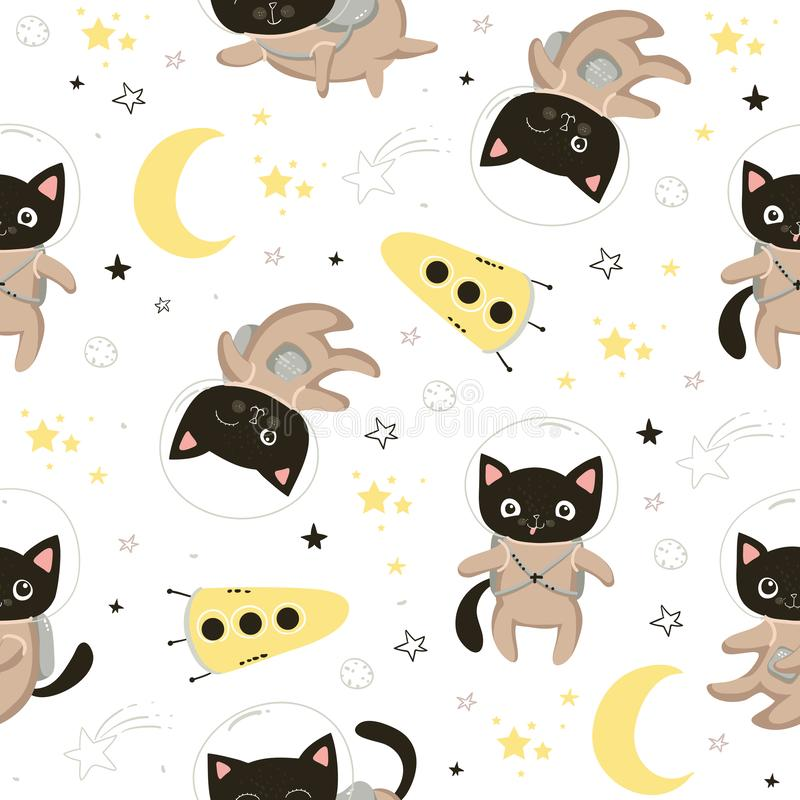 Seamless pattern with cute cats astronauts in helmets. Seamless background for kids design, wrapping paper, wallpaper stock illustration