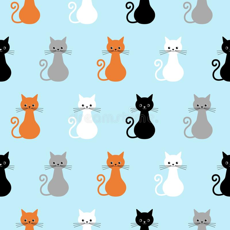 Seamless pattern with cute cats. Background with gray, white, black, ginger kittens stock illustration