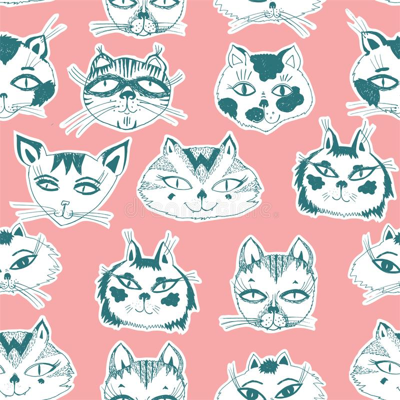 Seamless pattern with cute cats heads emoticons. stock illustration