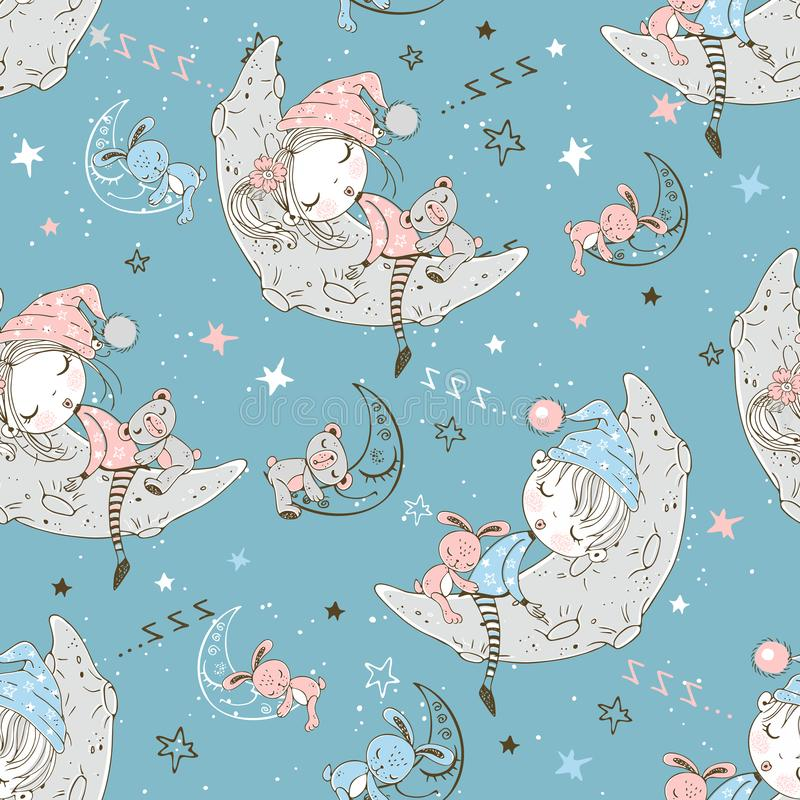 Seamless pattern with cute children in pajamas who sleep on the lunar months. Vector royalty free illustration