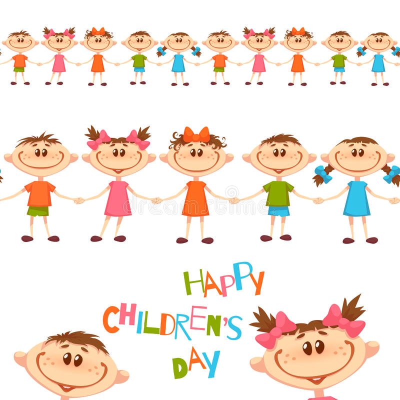 Seamless pattern with cute childrens. Happy Childrens Day title. Vector illustration vector illustration