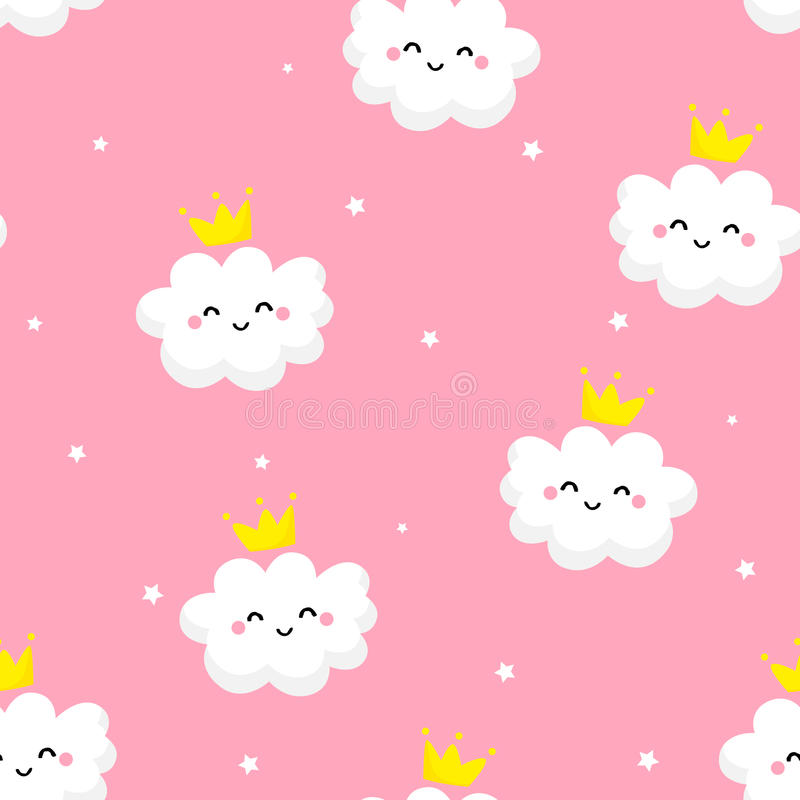 Seamless pattern with cute clouds princess and stars on pink background. Ornament for children`s textiles and wrapping. Flat style vector illustration
