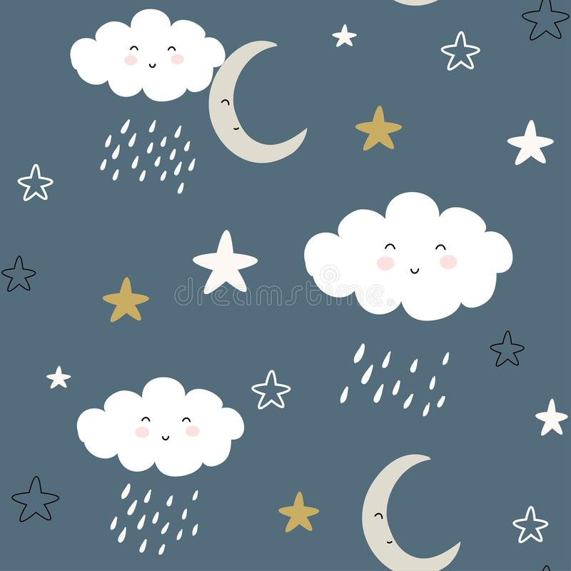 Seamless pattern with cute clouds and raindrops. vector illustration, royalty free illustration