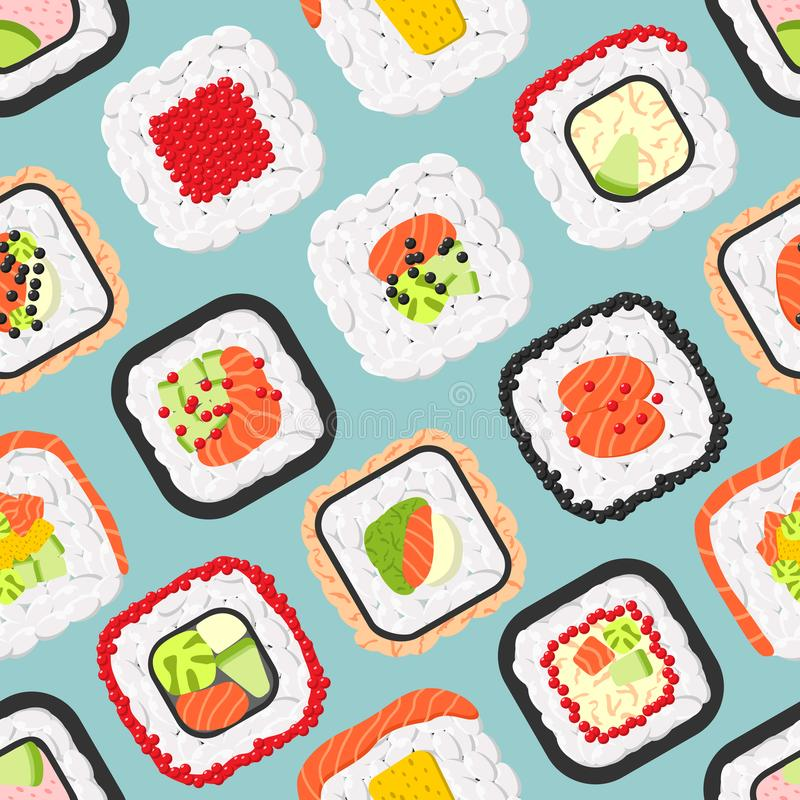 Seamless pattern of cute colored sushi rolls vector illustration
