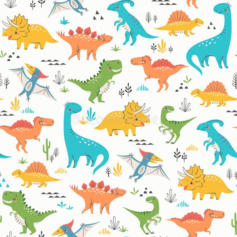 Surface pattern of cute dinosaurs. Seamless pattern of cute colorful dinosaurs with floral and geometric elements vector illustration
