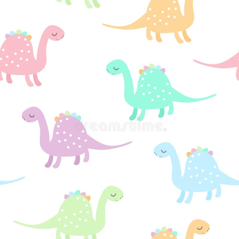 Seamless pattern with cute colorful dinosaurs on white background. Dino print for kids. Vector illustration vector illustration