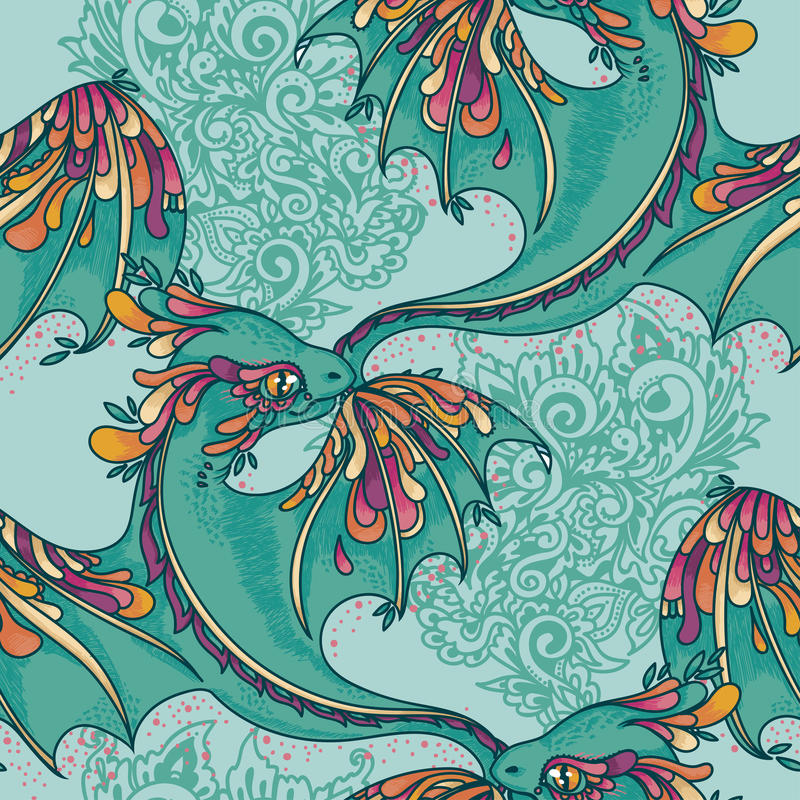 Seamless pattern with cute colorful dragons. Funky colors, vector illustration