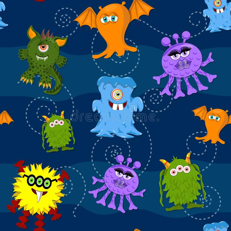 Seamless Pattern Cute colorful monsters on blue background vector illustration