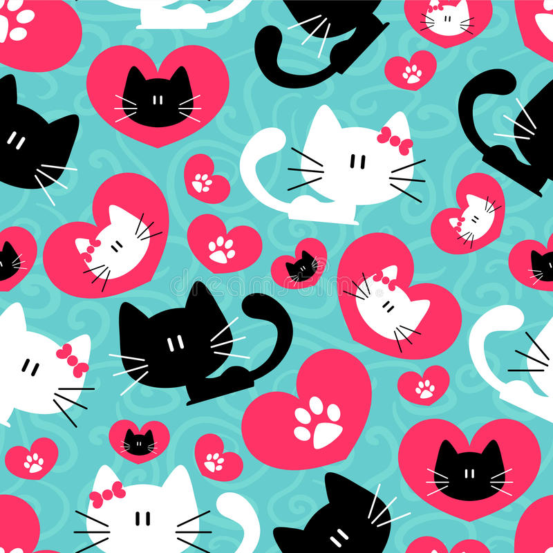 Seamless pattern with cute couple of cats vector illustration