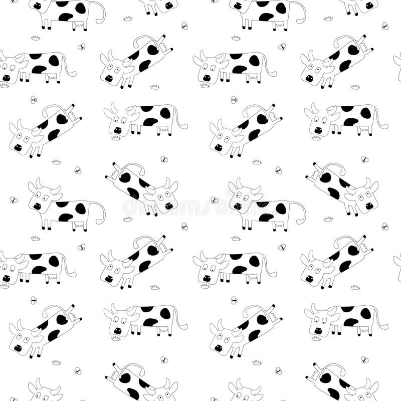 Seamless pattern with cute cows. vector illustration