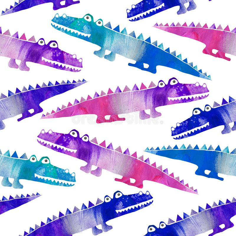 Seamless pattern with cute crocodiles. Illustration isolated on white background royalty free stock images