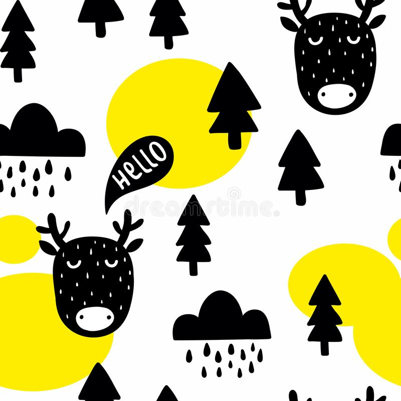 Seamless pattern with cute deer and trees in the forest. vector illustration