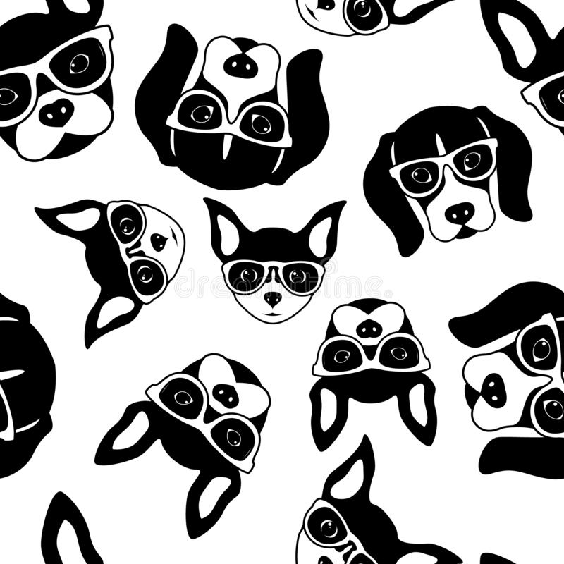 Seamless pattern of cute dog faces. French Bulldog, Beagle and Chihuahua. Black white vector illustration stock illustration