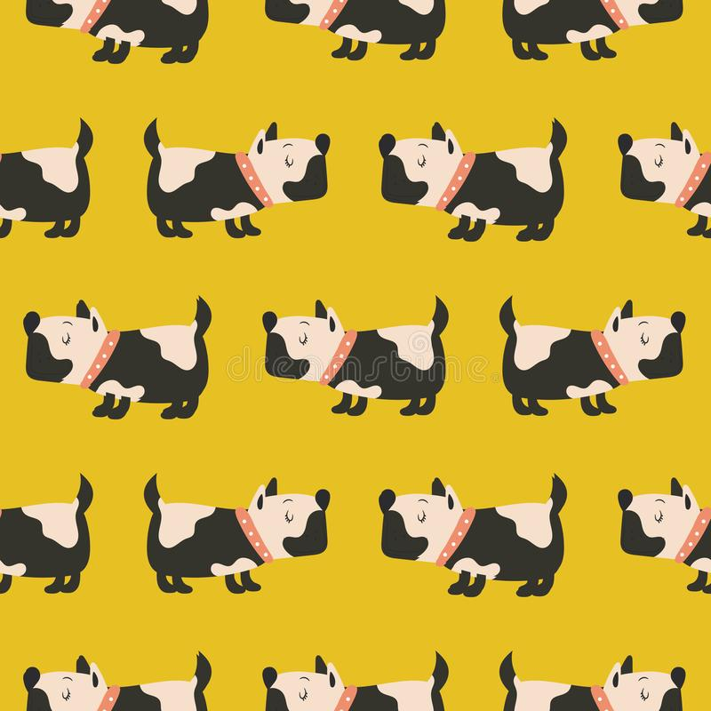 Seamless pattern with cute dogs yellow background. stock illustration