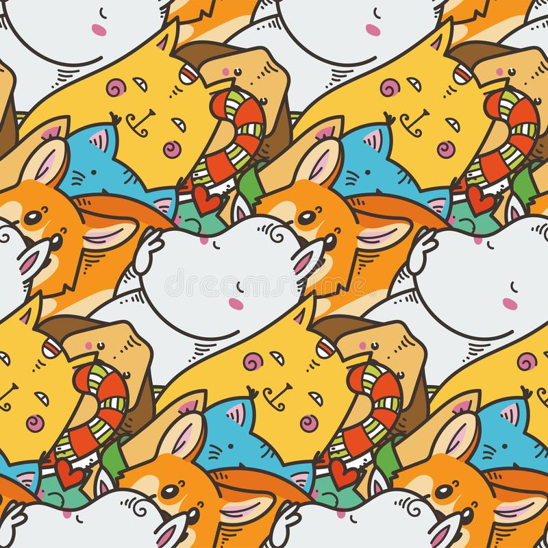 Seamless pattern with cute domestic animals. Kawaii doodle pets royalty free illustration
