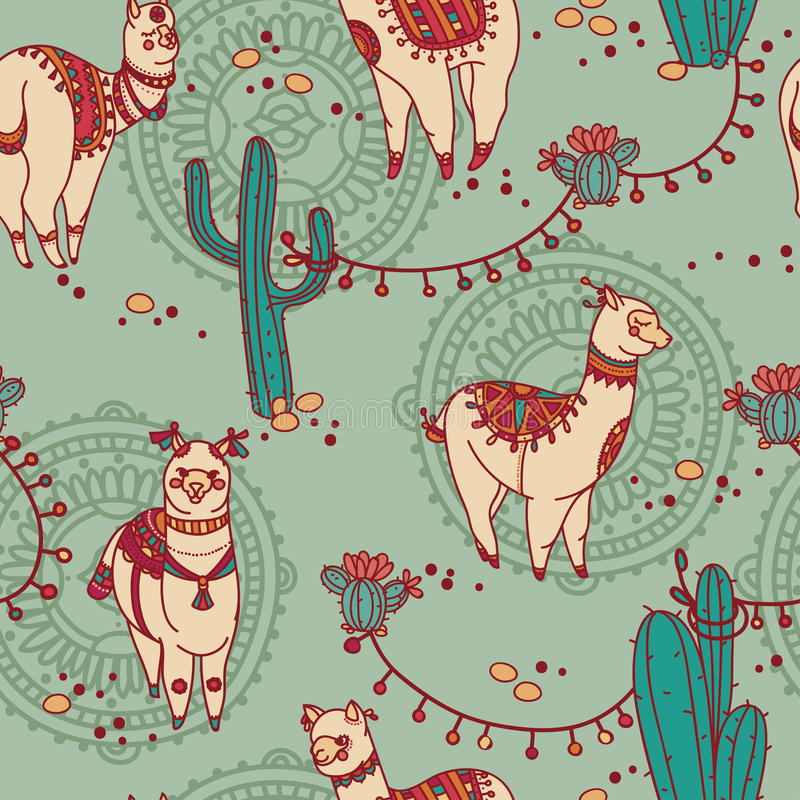 Seamless pattern with cute doodle alapaca in boho style and cactus stock illustration