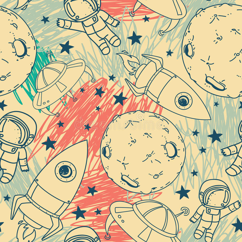 Seamless pattern with cute doodle astronauts, planets, rockets and stars. On scribble background, retro style, vector illustration stock illustration