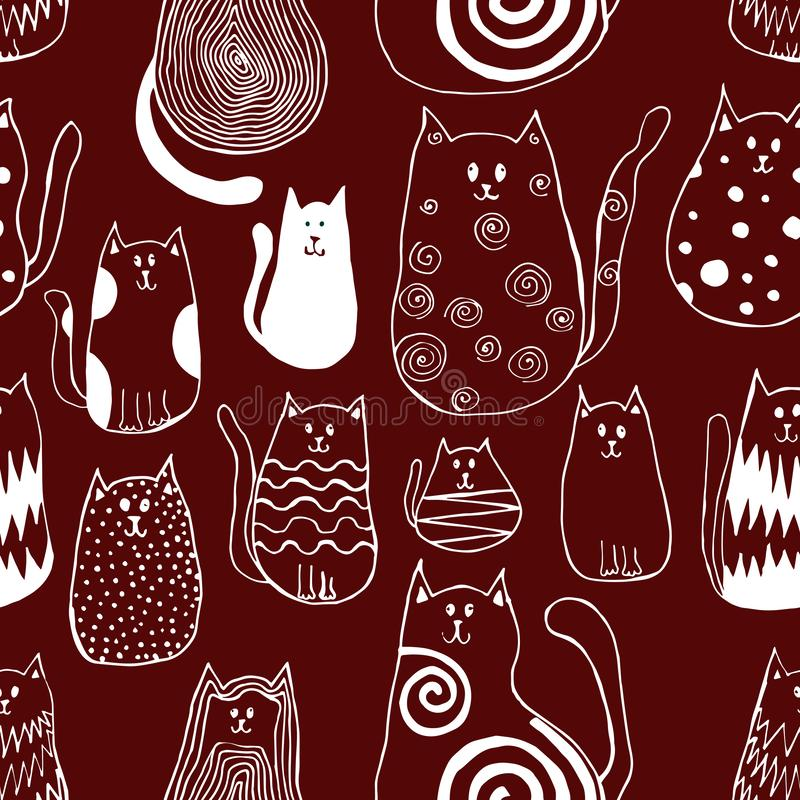 Seamless pattern with cute doodle cats. Outline animal art. Graphic print vector illustration