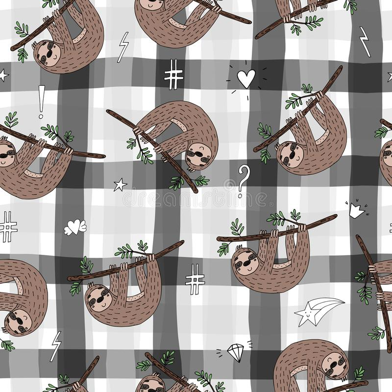 Seamless pattern with cute doodle sloth print.  stock illustration