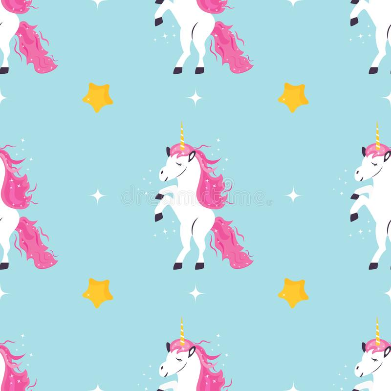 Seamless pattern with cute dreaming unicorns.  vector illustration
