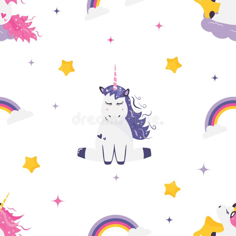 Seamless pattern with cute dreaming unicorns.  royalty free illustration