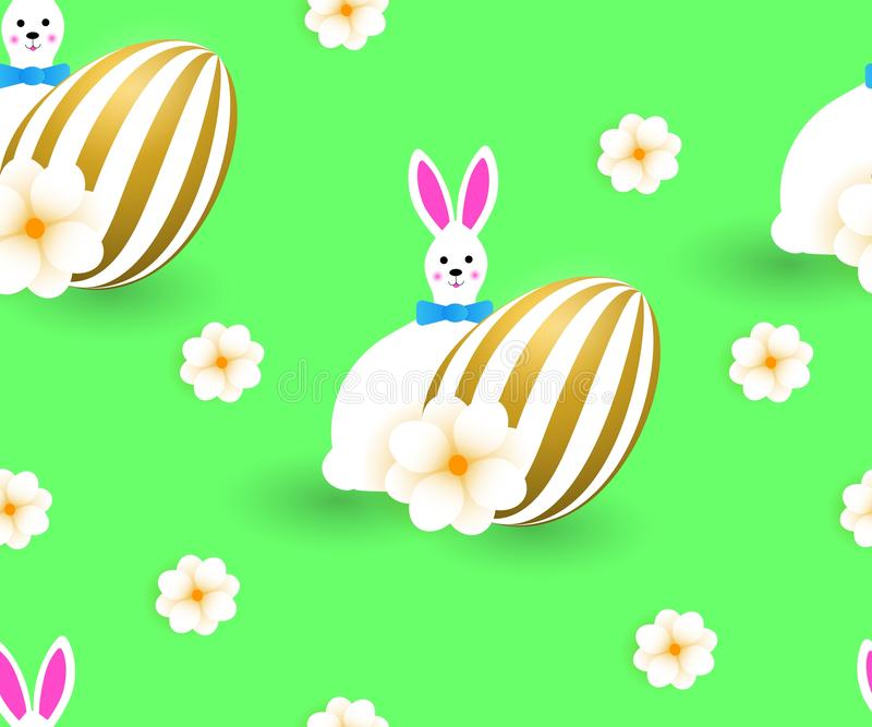 Seamless pattern with cute easter white fun rabbits, golden eggs, green background stock illustration